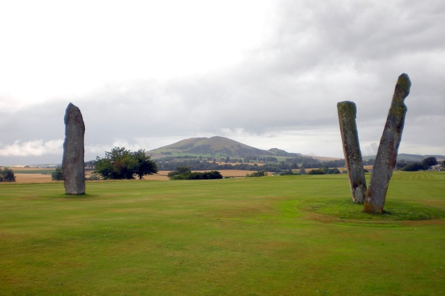 Lundin Links Stones looking towards Largo Law