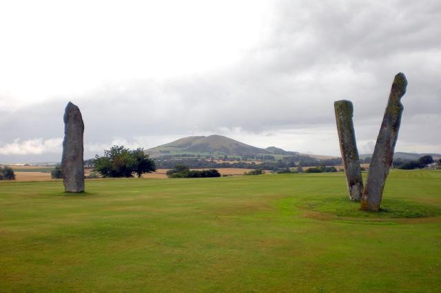 Lundin Links Stones looking towards Largo Law