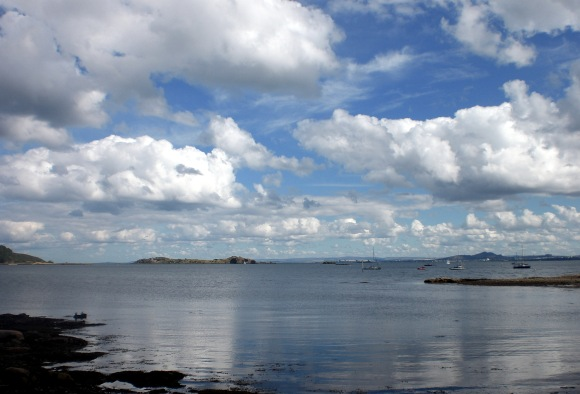 Dalgety Bay Looking out to Inchcolm & over to Arthur's Seat