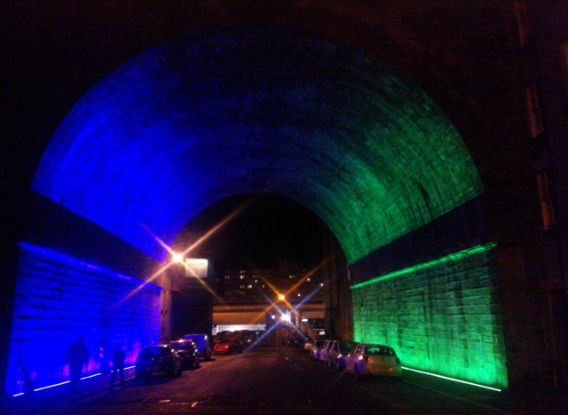 Under Regent Bridge, Calton Road, Edinburgh (Callum Innes installation).